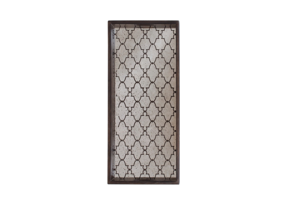 Notre Monde Sera rectangular tray - stained gate - medium aged clear mirror - oil rubbed bronze 68.5/30.5/5.5